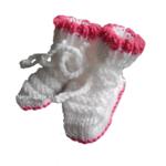 neomaatje prematuur babysokje wit-pink gebreid