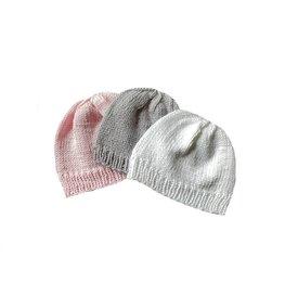 gebreide babymuts, rose, wit of grijs