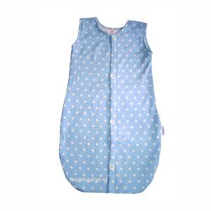 p newborn kleding, prematuur kleding, babyslaapzakje blauw met witte sterren