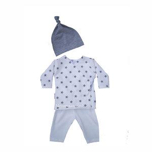 sterrenpakje wit grijs, newborn kleding