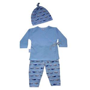 prematuur kleding jongen, licht-blauw setje